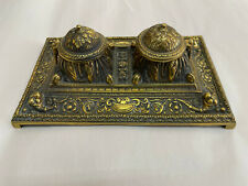 Antique Victorian ornate 1800's  bronze double inkwell