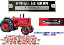 CUSTOM ENGRAVED Serial Number Data Plate ID Tag Farm Equipment Trailer New USA