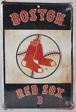 BOSTON RED SOX METAL SIGN Socks Logo NEW Baseball MLB Fenway Park Embossed Tin