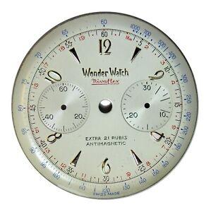 Vintage Original NOS Wonder Watch Chronograph Dial, Valjoux 92, Swiss ca. 1940s