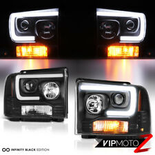 05-07 Ford F250 F350 F450 Superduty Black LED DRL Tube Projector Headlight Lamp