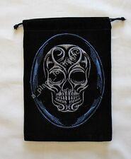 NEW Skull Unlined Black Velvet Tarot Drawstring Bag Pouch