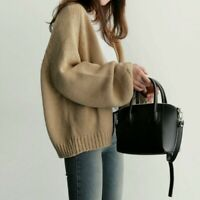 Lady Sweater Knitted Coat Jacket Cardigan Outwear Top Casual Loose Retro Retro