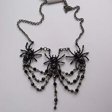 GOTHIC 3 BLACK DIAMANTE SPIDERS CHOKER NECKLACE new boxed