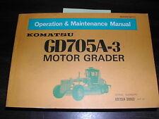 Komatsu GD705A-3 OPERATION MAINTENANCE MANUAL MOTOR GRADER OPERATOR GUIDE BOOK