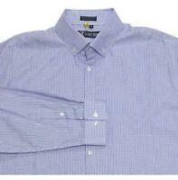 Stacy Adams Mens 17 32/33 Long Sleeve Button Down Dress Shirt Blue Purple Check