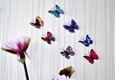 5X TISSU PAPILLONS MULTICOLORE 3D décoration murale Sticker muraux 6 cm
