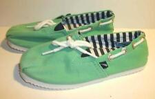 Nautica Green Slip On Deck Shoes Youth Sz 1 EUC