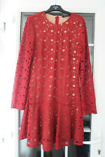 ZARA dark red crochet lace skater skirt type party dress size L