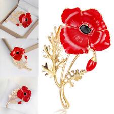 Rote Blume Mohnblumen Kristall-mohn Anstecknadel Brosche Emaille Anstecker NEU^^