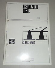 Teilekatalog / Ersatzteilliste Claas Mähwerk WM 2 - Stand 12/1975