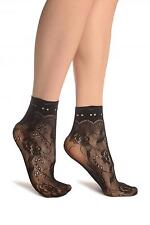 Black Roses Lace With Comfort Top Ankle High Socks (SA002188)
