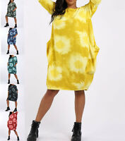 Ladies Womens Italian Oversized Tie Dye Casual Cocoon Dress Tunic Top Plus Size