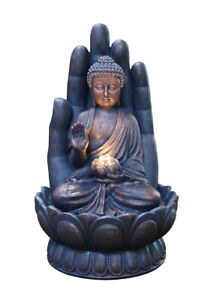 Indoor Outdoor Polyresin Water Fountain Feature LED Lights Garden Palm Buddha