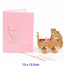 Baby Carriage  3D Pop Up Greeting Cards Birthday With Envelope