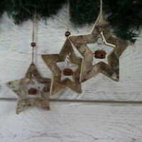 Shabby Rustic Nordic Christmas Tree Decorations Wooden Stars & Bell Set 3 BARK