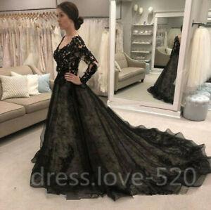 Black Gothic Lace Wedding Dresses Vintage Long Sleeve V Back Chapel Train Custom