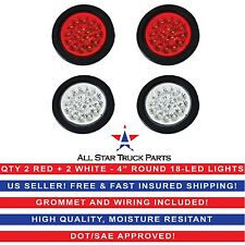 """4"""" 18 LED Round Stop Turn Tail Backup Reverse Truck Lights (2) Red & (2) White"""