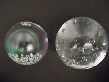 GLASS PAPERWEIGHTS-TOTAL OF TWO -ONE IRRIDESCENT-ONE BUBBLES