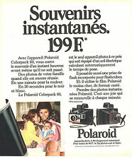 PUBLICITE ADVERTISING 114  1973  POLAROID  appareil photo COLORPACK 80