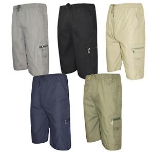 Mens Plain Elasticated Waist Cargo Combat Cotton 3/4 Long Shorts Pants M-3XL