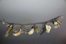 Riesiges Antikes Echt Silber Charivari mit Fuchsbiss 35cm 13 Anhänger 146 Gramm