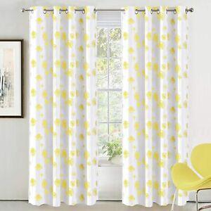 Set 2 Yellow White Dandelion Floral Curtains Panels Drapes 63 84 96 inch Grommet