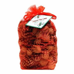 Christmas Scented Pine Cones in Red Organza Gift Bag