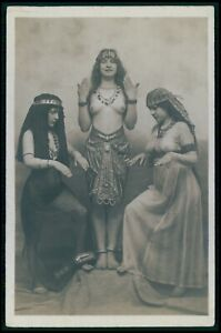 French nude woman Egypt slave girls hands original early c1900s photo postcard