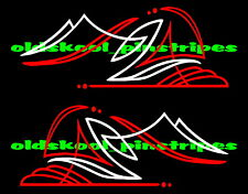 Fender door corner tank pinstripe pinstriping hot rat rod vinyl decal PAIR