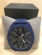Guess Gent's Blue Case Silicone Watch U1256G3, NWT