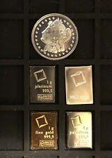 Valcambi: Gold - Silver - Palladium - Platinum (1 Gram Each) + FREE FUN 1g COIN!