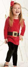 New Mud Pie 2 pc GLITTER SANTA TUNIC & LEGGING Christmas Holiday Red  2T 2 yrs