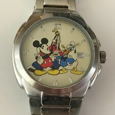Disney Accutime  Mickey Mouse & Friends Stainless Steel Watch W/Day New Battery