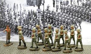Marshall Hindenburg+1 Off+9 Soldiers w/Rifles-11 Pcs-Elastolin-Lineol-Hausser