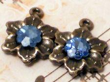 #815o Vintage Swarovski Charms Sapphire Drops Connectors Banana bob Star