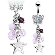 Navel Belly Ring Gemmed Butterfly Multi Chained Stars and Beads