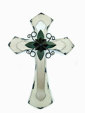 Wall Cross White - Shabby Chic Style - Wood & Metal - Regal Art & Gift Brand