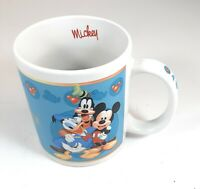 Mickey Mouse Signature Mug Cup Goofy Donald Duck 12oz Blue White Red Disney