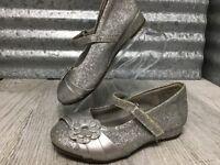 Dora Explorer Shoe Silver Girls Mary Jane Hook Loop Glitter Flower Size 5.5 C