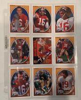 Joe Montana NFL Trading Cards Football Heroes Team NFL Upper Deck Lot of 9 Cards