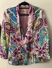 Auth ETRO Blue Purple Multicolor Stretch Jacket Striped Lining Pockets SZ 42 6