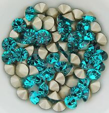 Swarovski 1028 Blue Zircon 29ss Crystal Chatons Foiled - 6 Pieces