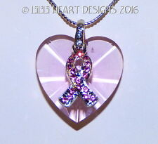 m/w Swarovski Retired Heart Breast Cancer Pendant Suncatcher Lilli Heart Designs