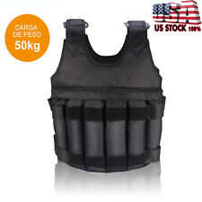 110lbs Adjustable Weighted Vest Fitness Workout Training Boxing Jacket Black