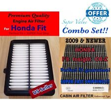 CARBONIZED Cabin + Engine Air Filter For 2015-2016 HONDA FIT 2 PC SET!