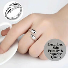 925 Sterling Silver Plated Adjustable Open Wrap Double Dolphin Zircon Eye Ring