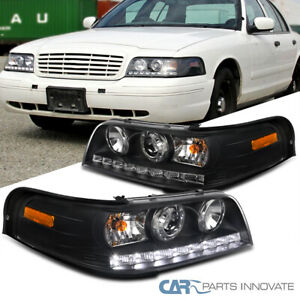 For 98-11 Ford Crown Victoria Matte Black SMD LED Bar Projector Headlights Lamps