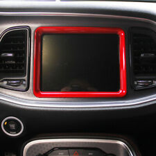 Red Console Navigation Decoration Cover Accessories For Dodge Challenger 15-19