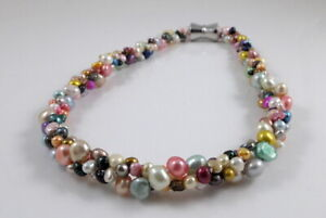 Multi-strand Freshwater Pearl Cluster Necklace & Strong Magnetic Clasp 17.5-19''